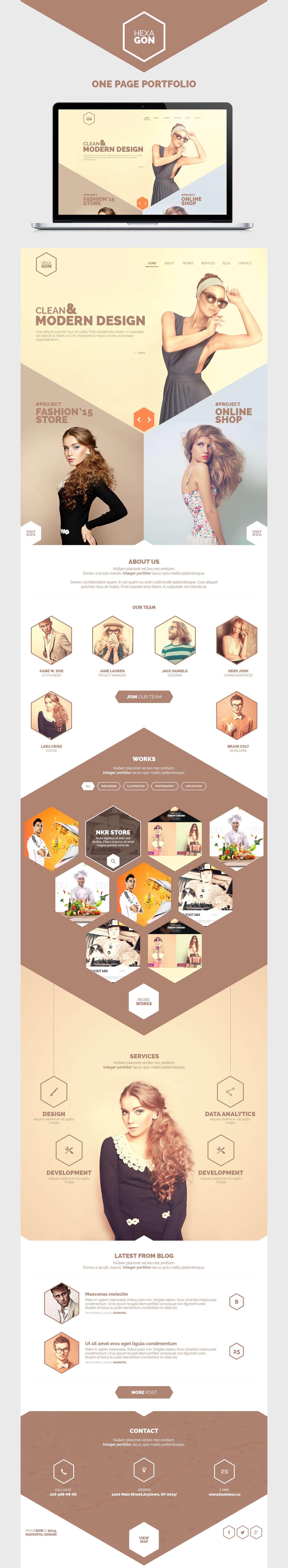 hexagon one page portfolio