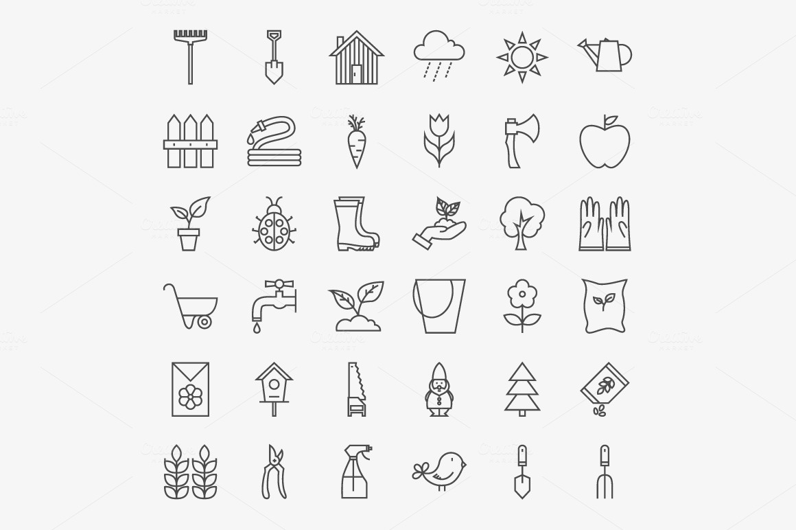 Garden Line Art Icons 02