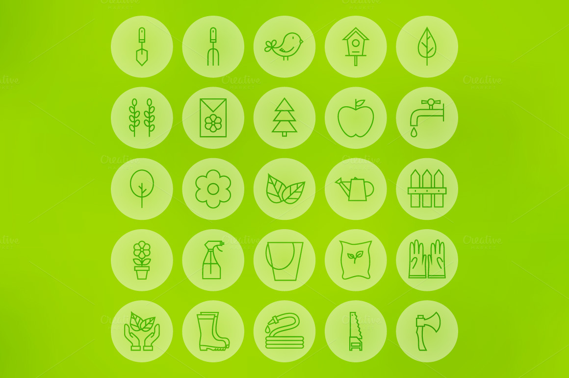 Garden Line Art Icons 03