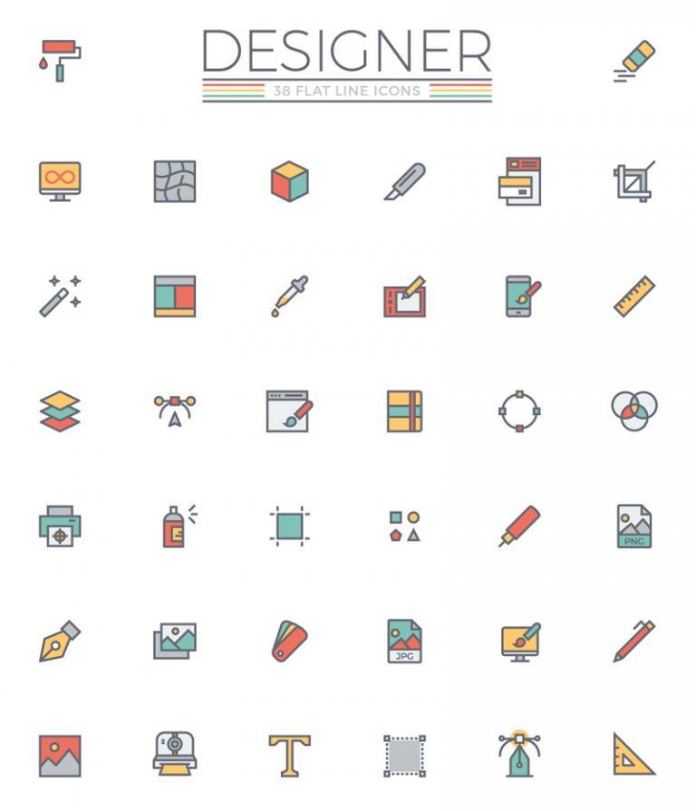 flat-line-designer-icon-set