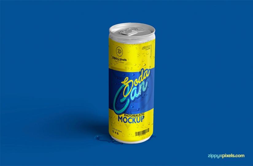 Free Refreshing Soda Can Mockup
