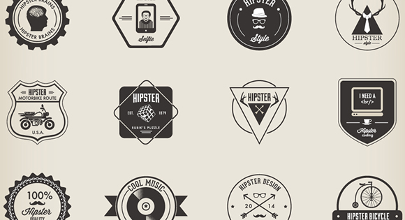 32 Hipster Badges Set